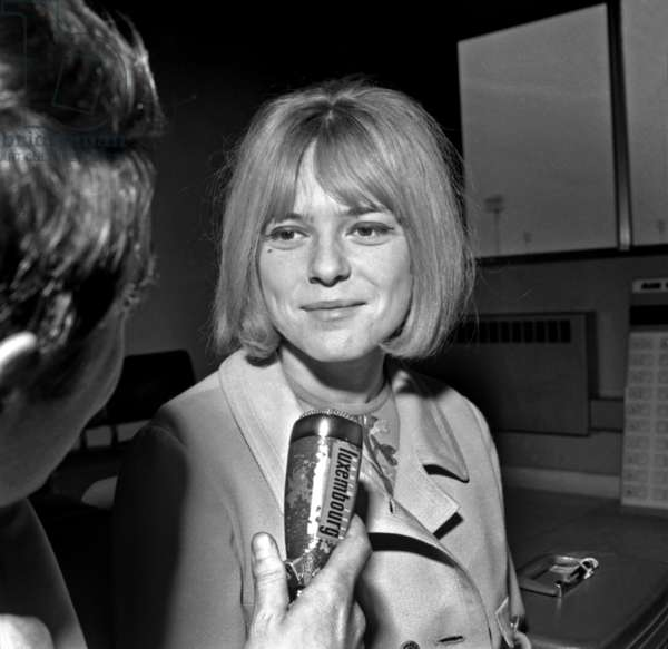 French Singer France Gall Back in Paris After The Eurovision Contest She Won For Luxembourg, on March 21, 1965 (b/w photo)