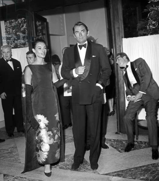 Gregory Peck and his Wife Veronique Passani at The Monte Carlo Gala August 12, 1961 (b/w photo)