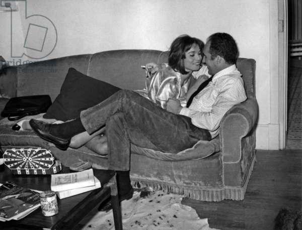 Michel Piccoli and Elsa Martinelli on Set of Film Le Fiasco May 15, 1964 (b/w photo)