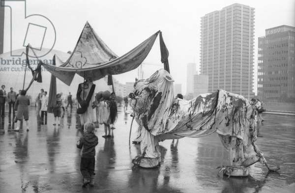 Sculpture by Joan Miro in Paris La Defense, November 13, 1978