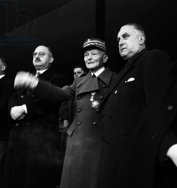 Unveiling of Monument To Marshall Foch, Trocadero, Paris, November 11, 1951 : French General Maxime Weygand and French Politician Jean Letourneau (b/w photo)