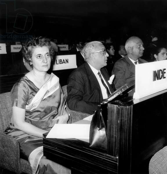 Indian Minister of Information Indira Gandhi at General Meeting of Unesco in Paris October 20, 1964  (b/w photo)