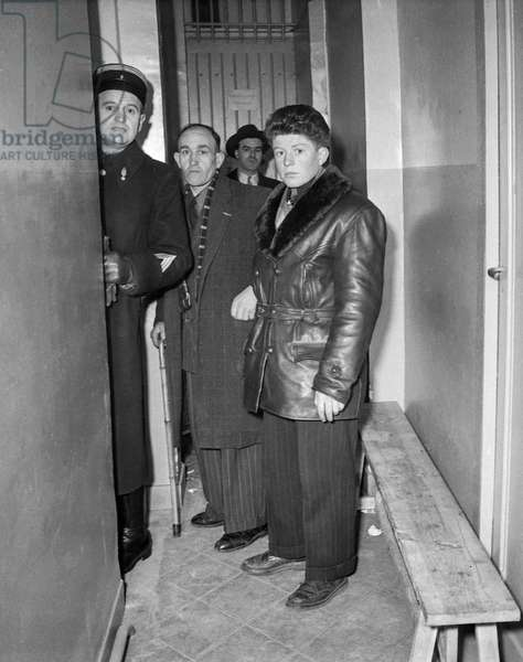 Trial of Oradour-sur-Glane at Bordeaux military court on January 13, 1953 : Roger Godfrin, the youngest survivor, with Mr Machefer, other survivor (b/w photo)