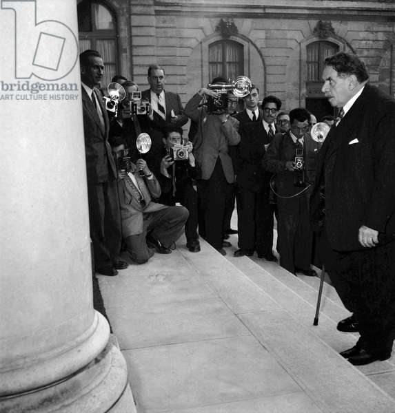 French ministerial crisis on October 9, 1949 at the Elysee, in Paris : French politician Edouard Herriot (b/w photo)