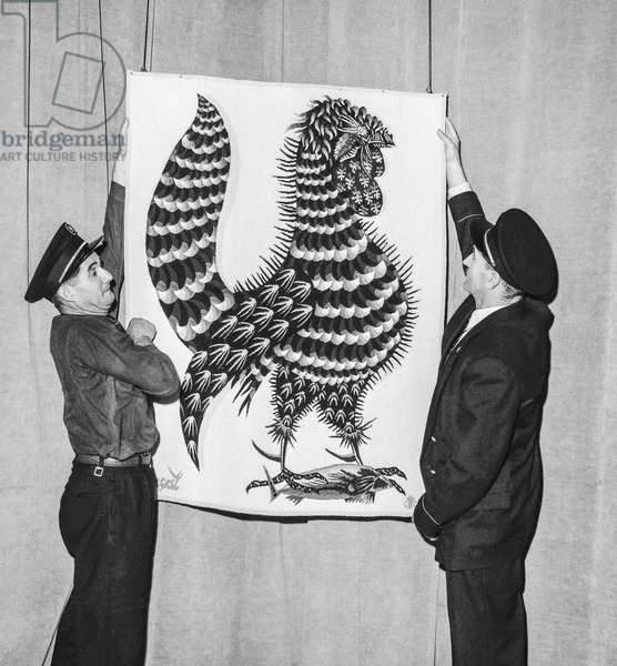 Preparation for the exhibition about Jean Lurcat at the Musee d'art moderne in Paris, July 22, 1958 (b/w photo)