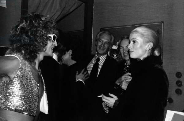 Catherine Deneuve Congratulating Michel Polnareff After his Concert at Olympia October 11, 1972 (b/w photo)