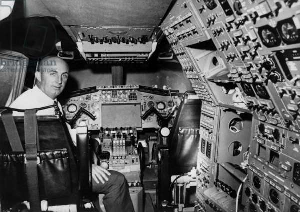 """French Pilot Andre Turcat on Board of A Flight Simulator of """"Concorde 001"""" February 26, 1969 (b/w photo)"""