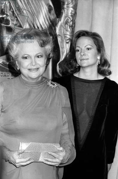 British-American actress Olivia de Havilland with her daughter Gisele Galante at the 11th Cesar Awards ceremony in Palais des Congres de Paris, on February 22, 1986
