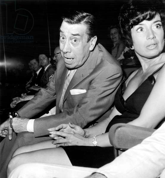 Fernandel and his Daughter Josette at Presentation of Film Happy He Who Like Ulysses in Paris July 09, 1970 (b/w photo)