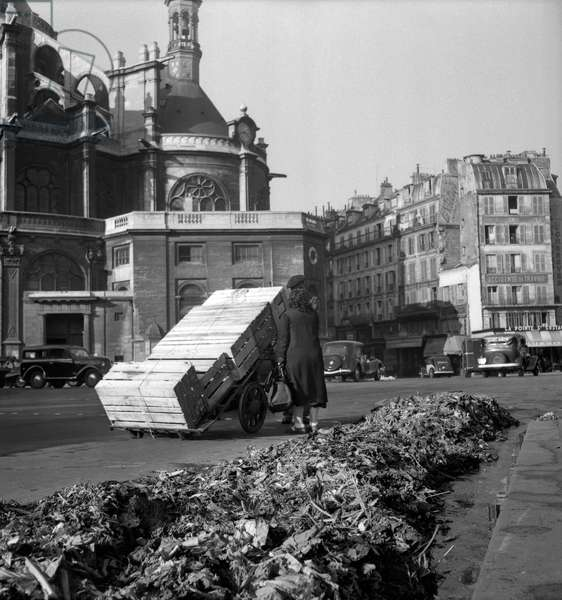 Dustmen on strike in Paris on October 15, 1949 : here at the Halles (b/w photo)