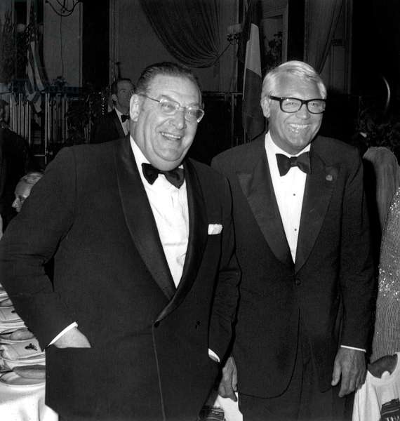 French Journalist Leon Zitrone and Actor Cary Grant at Cannes Film Festival May 17, 1976 (b/w photo)