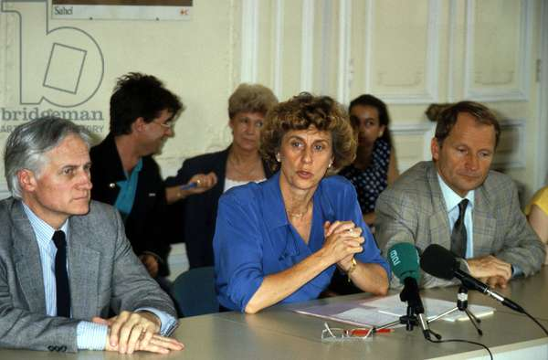 Georgina Dufoix Chairman of Red Cross during Press Conference To Explain Red Cross Deficit on her Side Pierre Boutenna General Director (L) and Jean Daniel Ramond General Secretary (R) July 6, 1989  (photo)