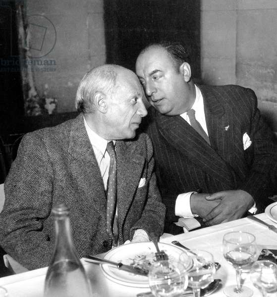 Pablo Picasso and Chilean Poet Pablo Neruda April 25, 1949 (b/w photo)