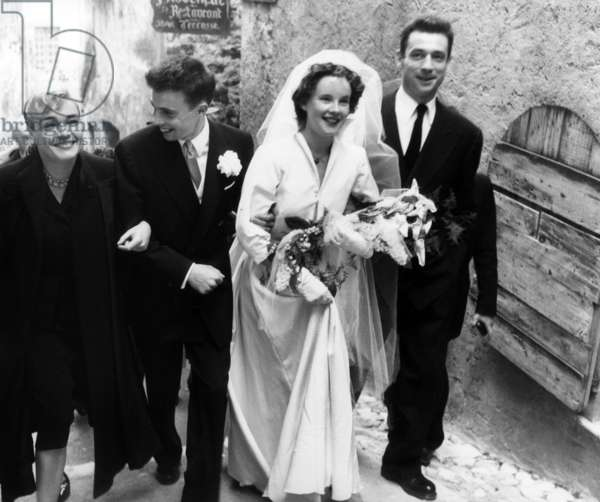 Wedding of Francis Roux and Yvonne Tourne in Saint-Paul-De-Vence, With Simone Signoret and Yves Montand on April 30, 1952 (b/w photo)