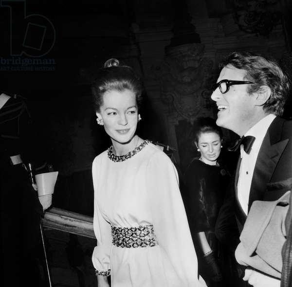 Romy Schneider and Harry Meyen at Premiere of The Film Funny Girl at The Opera, Benefit Goes To Petits Lits Blancs, January 17, 1969 (b/w photo)