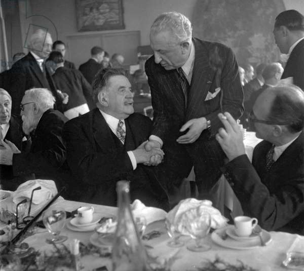 150 years of the death of Beaumarchais, Paris, May 18, 1949 : Georges Lecomte, Edouard Herriot, Henry Bernstein (b/w photo)