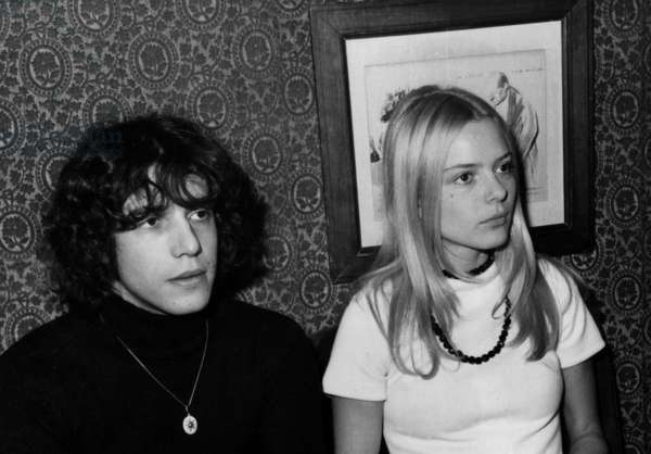 French Singers Julien Clerc and France Gall at Maxim'S Restaurant in 1969 (b/w photo)