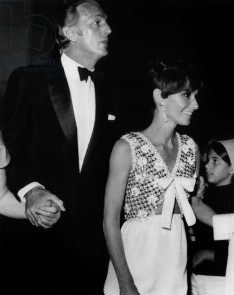 Party at Patino'S in Lisbon With Audrey Hepburn and Hubert De Givenchy on September 7, 1968 (b/w photo)