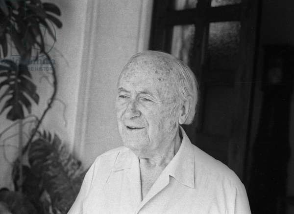 Portrait of Joan Miro in Palma de Mallorca where a retrospective of his work was organised for his 85th birthday, here at home, September 11, 1978
