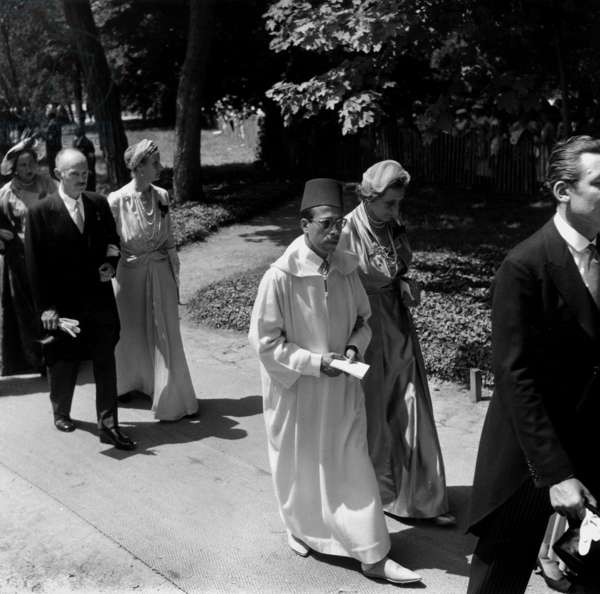 Wedding of Henry of France Count of Clermont , Son of Count-Of-Paris, With Mary Theresa of Wurtemberg July 05, 1957 in Dreux : Arrival of Prince Moulay Ali of Morocco (b/w photo)