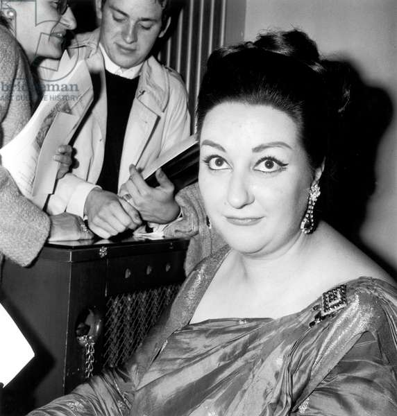 Spanish Singer Montserrat Caballe Congratulated By Admirers After Concert in Paris June 22, 1966 (b/w photo)