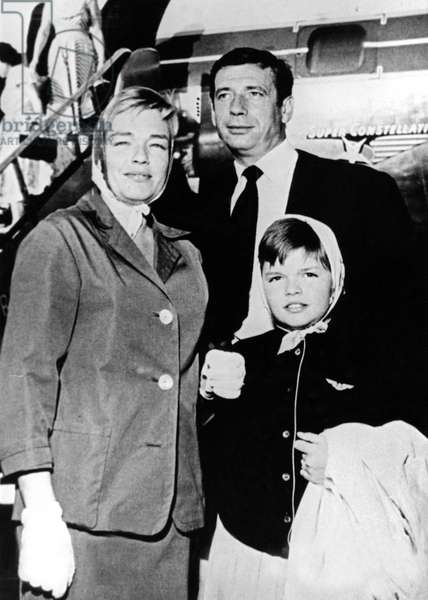 Catherine Allegret With her Stepfather Yves Montand and her Mother Simone Signoret 1955 (b/w photo)