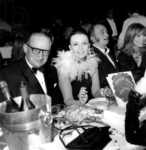 Salvador Dali With Ludmila Tcherina (G) and Amanda Lear (D) in Famous Parisian Cabaret Moulin Rouge April 9, 1970 Restaurant (b/w photo)