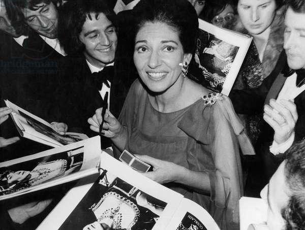 Soprano Maria Callas Signing Autographs After Concert in Paris December 8, 1973 (b/w photo)