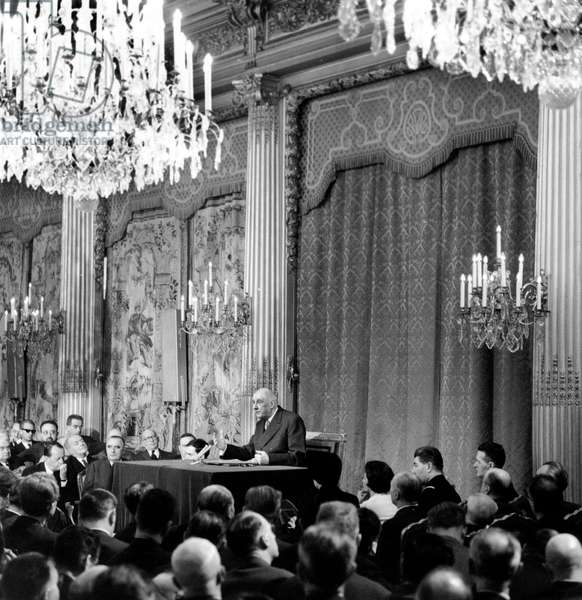 First Press Conference of General Charles De Gaulle After his Reelection As President February 21, 1966 (b/w photo)