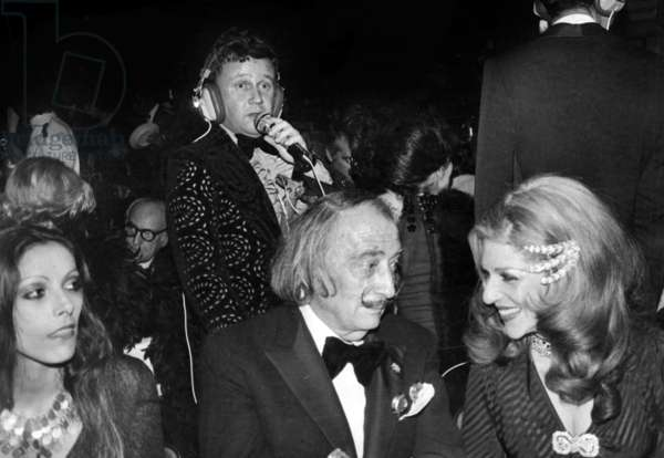 Salvador Dali With Baroness Marie-Helene De Rothschild at Premiere of The Lido Show in Paris, Behind Standing Is Philippe Bouvard, December 13, 1973 (b/w photo)