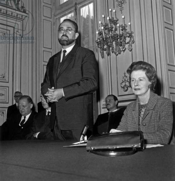 Edgard Pisani, French Minister of Public Works, and Barbara Castle, English Minister of Transports, during A Meeting in Paris About The The Channel Tunnel October 28, 1966 (b/w photo)