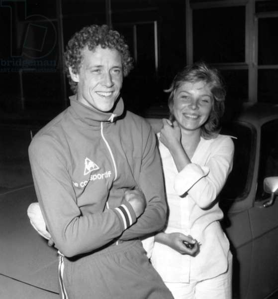 French Athlete Guy Drut and his Fiancee Bridget in Nice (French Riviera) on August 3, 1973 (b/w photo)