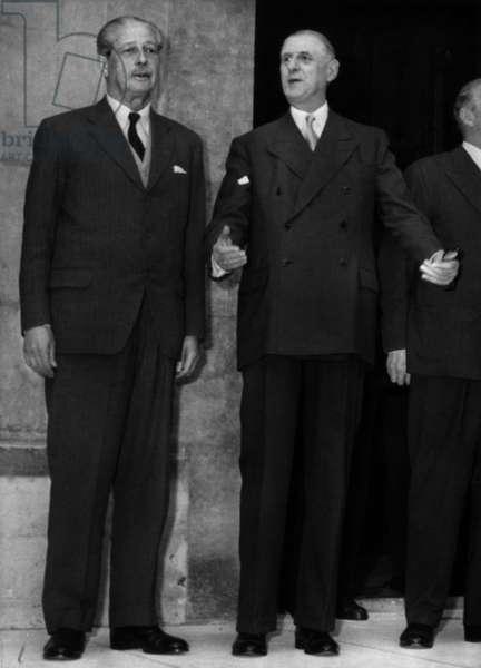 Le General De Gaulle Et Mr Harold Mac Millan C.1961 (b/w photo)