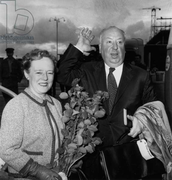Alfred Hithcock and his Wife in Paris on October 10, 1959 (b/w photo)