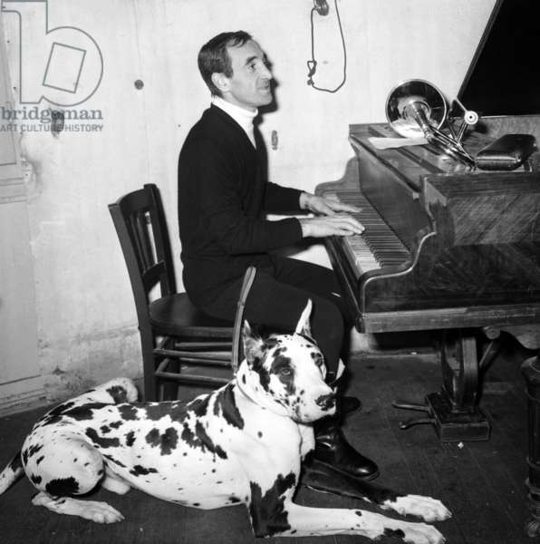 Charles Aznavour during Rehearsal at The Olympia in Paris With his Dog January 1964