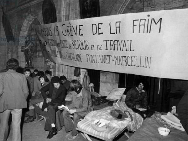 Foreigns Workers Go on Hunger Strike in France, in The Church Saint-Pierre of Bordeaux, March 1973 (b/w photo)