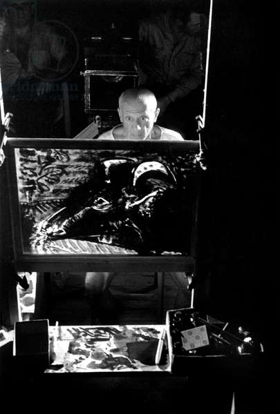 Spanish Painter Pablo Picasso Painting on Set of Film