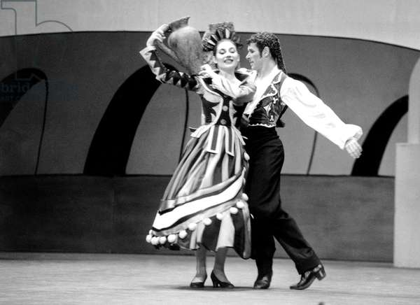 "Dancers Patrick Dupond and Monique Loudrieres during Ballet ""Picasso Et La Danse"" March 11, 1992 (b/w photo)"