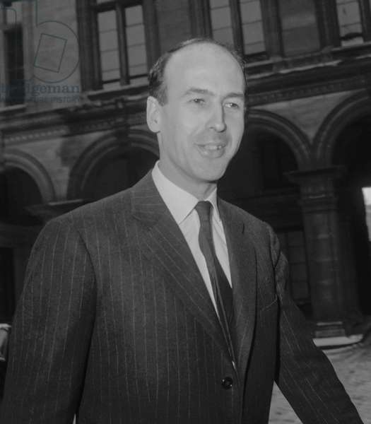 French politician Valery Giscard d'Estaing, Paris, January 14, 1960 (b/w photo)