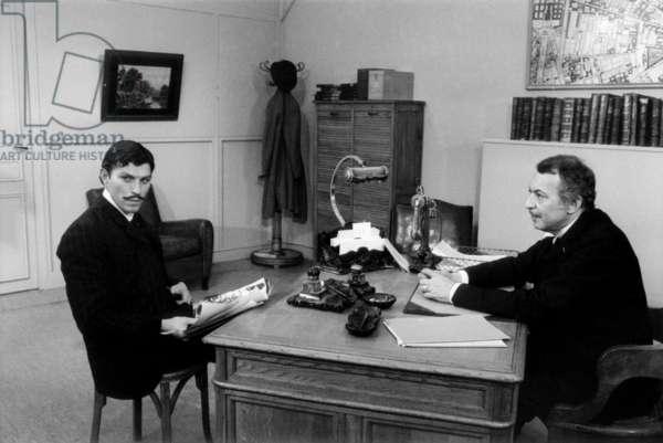 Serie Televisee Les Brigades Du Tigre (The Tiger Brigades) Avec Jean Claude Bouillon (Inspecteur Valentin) Et Francois Maistre (Commissaire Faivre) 8 Mai 1973 Neg:Cx6248 (b/w photo)