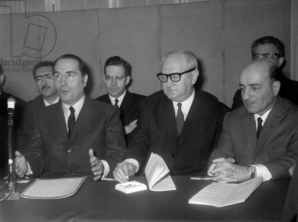 Francois Mitterrand, Guy Mollet and Rene Billeres, 1968 (b/w photo)