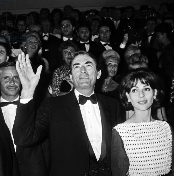 Gregory Peck and his Wife Veronique Leaving Cannes Palace Festival After Presentation of Film