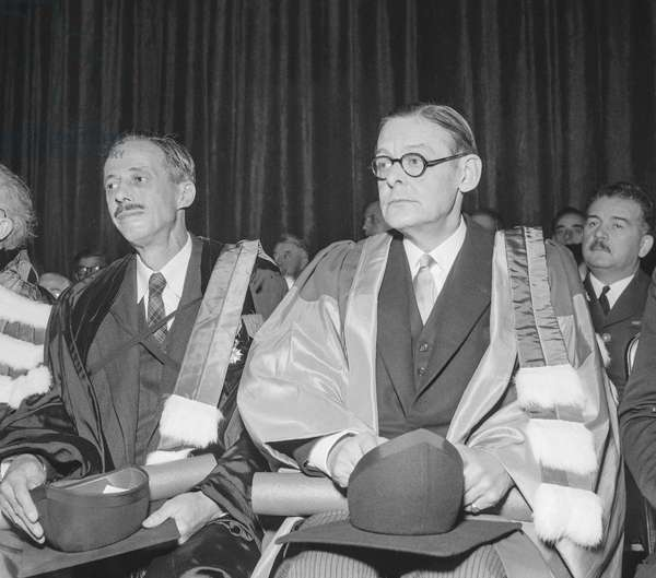 Reopening of the University, La Sorbonne, Paris, December 1st, 1951 (foreign scholars are made Docteurs Honoris Causa) : writer T. S. Eliot (b/w photo)