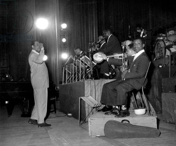 Jazzman Composer and Conductor Duke Ellington and his Orchestra during Rehearsals Before Concerts in Paris April 13, 1950 (b/w photo)