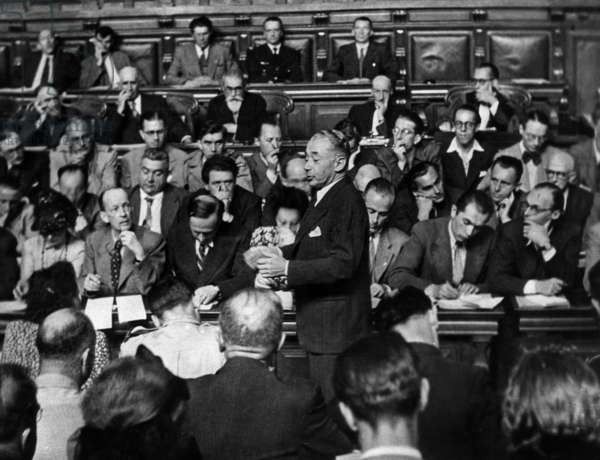 Trial of French Marshal Philippe Petain in Paris July-August 1945 : Evidence of Paul Reynaud (b/w photo)