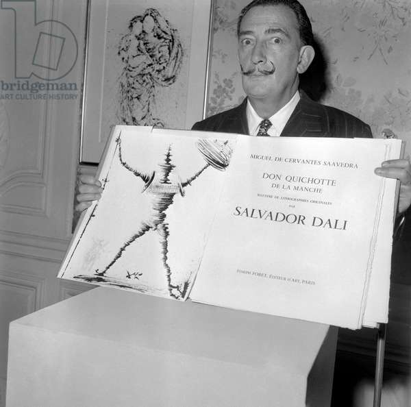 """The Most Expensive Book in the World"""" Don Quixote"""" Illustrated By Salvador Dali Has been Exhibited at the Musee Jacquemart-Andre in Paris. December 12, 1957. Neg: A47128 (b/w photo)"""