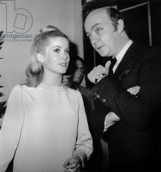"""French Director Jean Paul Rappeneau Presenting his Film """"A Matter Of-Resistance"""" January 26, 1966 here With his Actress Catherine Deneuve (b/w photo)"""