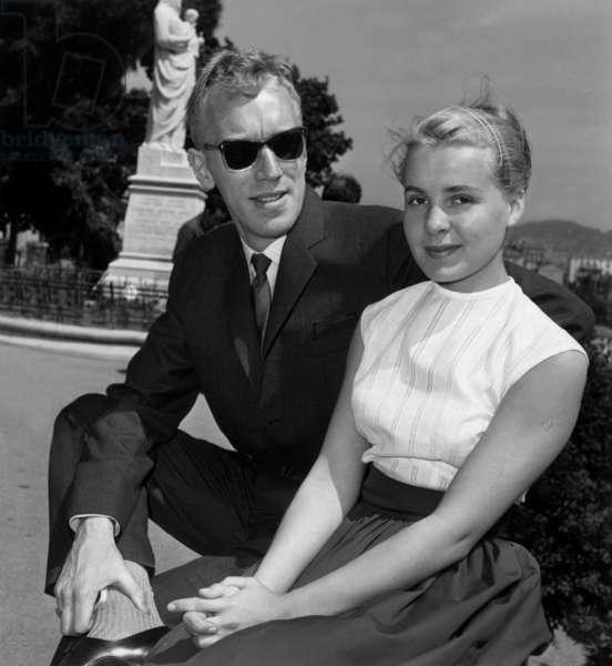 Cannes Film Festival : Max Von Sydow and Brigitta Petterson, May 16, 1960 (b/w photo)