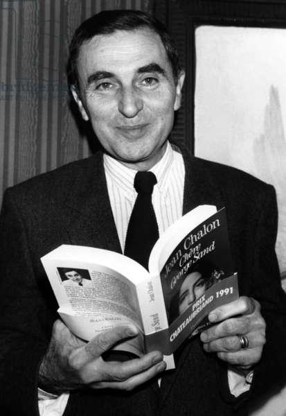 "Jean Chalon Apres Apres Having Recu Le Prix Chateaubriand For His Book ""George Sand"" Edited Chez Flammarion November 19, 1991 (b/w photo)"
