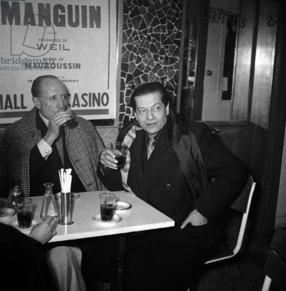 Serge Lifar and Marquis of Cuevas, American Patron of The Arts and Patron of The Russian Ballets of Monte Carlo, Meeting in Deauville For Reconciliation April 07, 1958 (b/w photo)